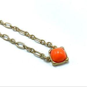 Lia Sophia Brushed Gold Orange Pendant Necklace
